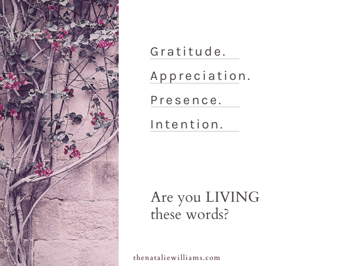 Gratitude. Appreciation. Presence. Intention. Are you LIVING these words?